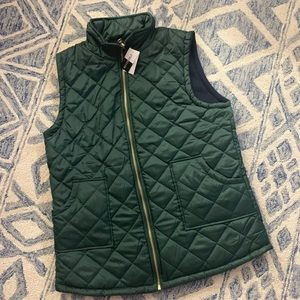 Reversible vest green blue fleece quilted large